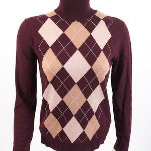 Massimo Dutti Wool Turtleneck Sweater Small Argyle